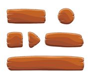Set of cartoon wooden buttons with different shapes, vector gui elements Stock Images