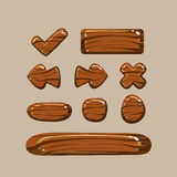 Set of Cartoon Wooden Buttons Royalty Free Stock Photo