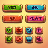 Set of cartoon wooden buttons Stock Photo