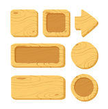 Set of cartoon wooden game assets. Vector illustration of a set of cartoon wooden game assets, wood kit for game ui development, vector gui elements. Menu royalty free illustration