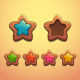 Set of cartoon wooden stars Royalty Free Stock Photos