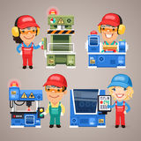 Set of Cartoon Workers Working on the Factory Royalty Free Stock Images