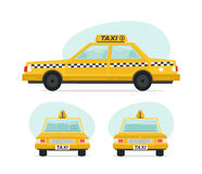 Set of cartoon yellow taxi car. Isolated objects on white background in flat cartoon style. Vector illustration. Royalty Free Stock Photos