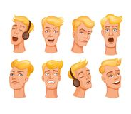 Young men heads. Set of cartoon young men face expresses emotions. Different expressions of male faces. Facial expressions with offense, humor, confusion, irony Stock Photo