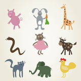 Cartoon film an animal2. Set a cartoonof animals. A vector illustration Stock Image