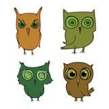 Set of cartoons owls. Set of young cartoons owls royalty free illustration