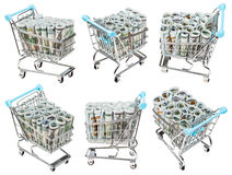 Set from carts with dollar banknotes isolated Royalty Free Stock Photography