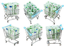 Set from carts with euro banknotes isolated Stock Images