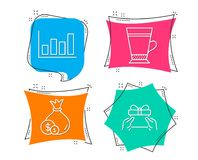 Cash, Latte and Report diagram icons. Give present sign. Banking currency, Coffee beverage, Financial market. Set of Cash, Latte and Report diagram icons. Give royalty free illustration