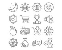 Cash, Market sale and Surprise gift icons. International globe, Loud sound and Winner podium signs. Vector. Set of Cash, Market sale and Surprise gift icons vector illustration