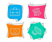 Cash money, Portfolio and Cashback card icons. Cash sign. Banking currency, Business case, Money payment. Set of Cash money, Portfolio and Cashback card icons Royalty Free Stock Photography