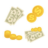 Set of cash paper money and coins. Royalty Free Stock Photography