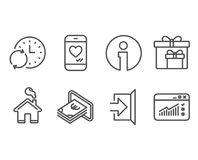 Cash, Update time and Delivery boxes icons. Exit, Love chat and Web traffic signs. Set of Cash, Update time and Delivery boxes icons. Exit, Love chat and Web royalty free illustration