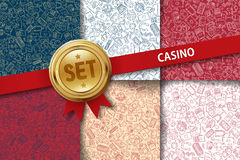 Set of casino backgrounds with doodle icons in Stock Photos