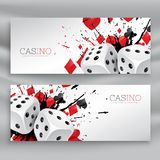 Set of casino banners with dices and abstract ink splash. Vector Royalty Free Stock Images