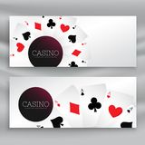 Set of casino banners with playing cards. Vector Royalty Free Stock Photography