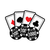Set casino card and poker chips for casino games. Vector illustration Stock Photos