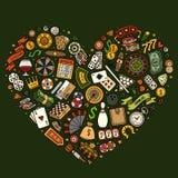 Set of Casino cartoon doodle objects stock illustration