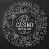 Set of Casino cartoon doodle objects, symbols and items Stock Photography