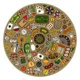 Set of Casino cartoon doodle objects, symbols and items Stock Photos