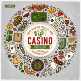 Set of Casino cartoon doodle objects, symbols and items Royalty Free Stock Image