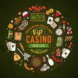 Set of Casino cartoon doodle objects, symbols and items Royalty Free Stock Images