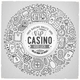 Set of Casino cartoon doodle objects, symbols and items Stock Images