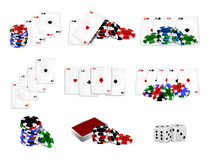 Set of casino chips and cards Royalty Free Stock Photos