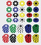 Set of casino chips Royalty Free Stock Images