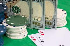 Set of casino chips, money and poker cards Stock Images