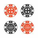 Set of casino chips. top view Stock Photo