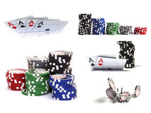 Set of casino elements: chips and cards. Isolated on white Stock Photos