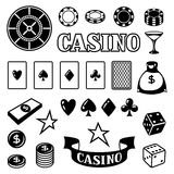 Set of casino gambling game objects and icons Royalty Free Stock Photo
