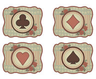 Set casino poker card in vintage style, vector Stock Photos