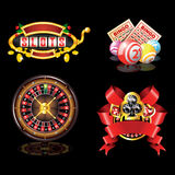 Set of casino`s items. On black background Royalty Free Stock Image