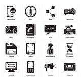 Set of Cassette, Protest, Monitor, News reporter, Diskette, Chat, Email, Share, Smartphone icons. Set Of 16 simple  icons such as Cassette, Protest, Mobile phone Stock Photo