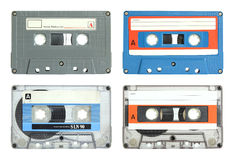 Set of cassette tape isolated. On white with clipping path royalty free stock images