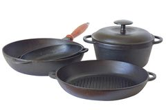 Set of cast iron pans Stock Photo