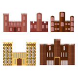 Set of castle building. Medieval tower Royalty Free Stock Photos