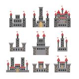 Set of castles of fairy tales in white background. Vector illustration Royalty Free Stock Images