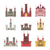 Set of castles of fairy tales in white background. Vector illustration Royalty Free Stock Photos