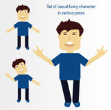Set of casual funny character in various poses Royalty Free Stock Images