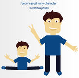 Set of casual funny character in various poses 2. Funny character in various poses can be used for any business projects royalty free illustration