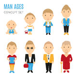 Set of casual man age flat icons Stock Photography