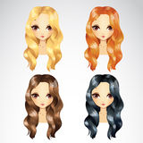 Set Of Casual Wave Hair Styling Stock Photo