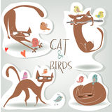 Set with cat and birds. Set with cartoon cat and birds stock illustration