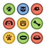 Set of cat and dog  icons in retro style. Illustration Royalty Free Stock Photo
