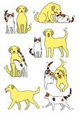 Set of cat and dog pairs. Set of cute cat and dog pairs, Various posing with colors vector illustration
