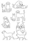Set of cat and dog pairs. Set of cute cat and dog pairs, Various posing with colors royalty free illustration