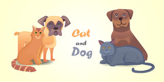 Set cat and dog together cartoon vector characters. Best friend happy pets. Fanny home animals lovely  Stock Photography